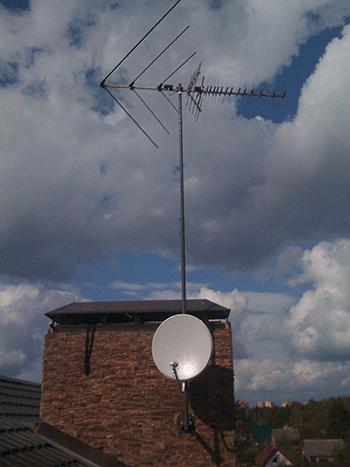 установка спутниковой антенны и эфирной антенны